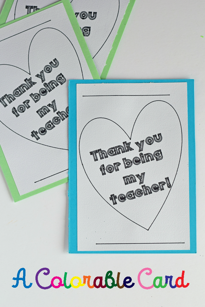 Colorable Teacher Appreciation Card made with the Cricut Explore Air