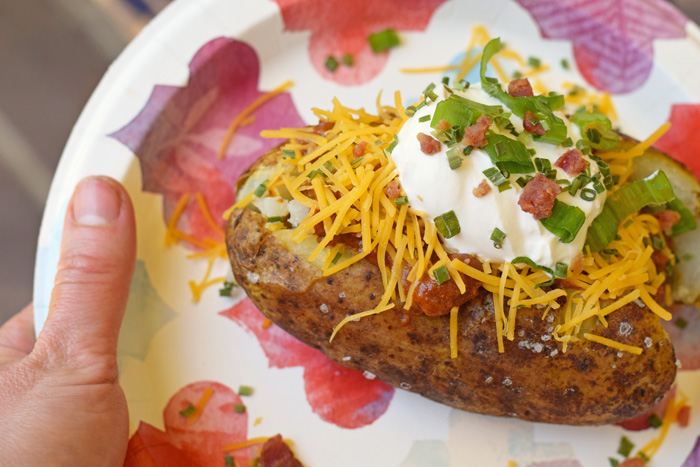 The Perfect Oven Baked Potato + a Baked Potato Bar AD
