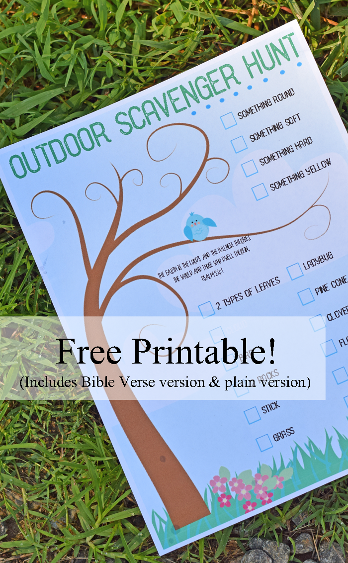 Free Printable Outdoor Scavenger Hunt (Includes Regular and Bible Verse version!)  AD