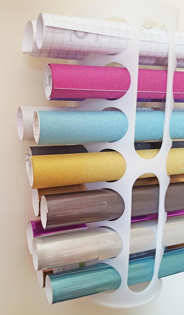 Using Ikea Plastic Bag Dispenser for storing Cricut vinyl AD