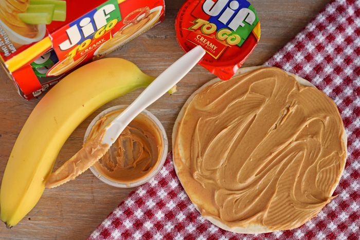 On-The-Go Peanut Butter and Banana Roll-ups recipe AD