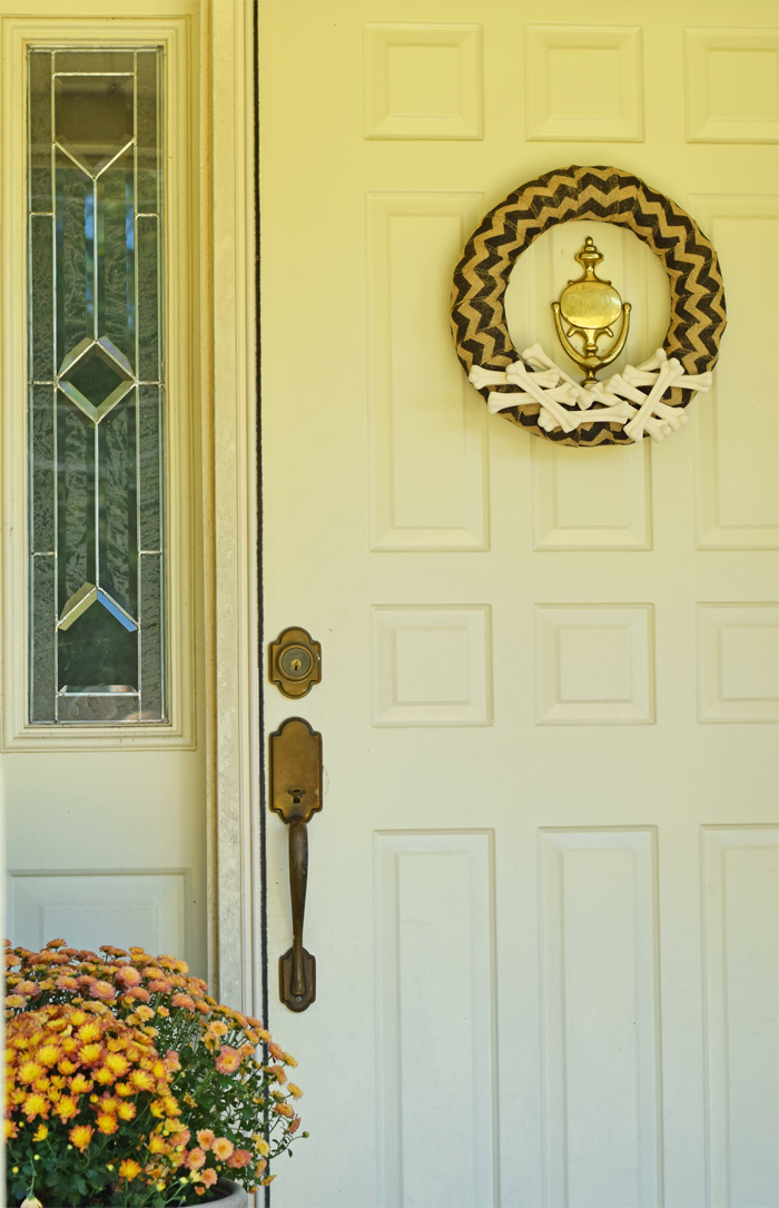 Halloween Bones and Burlap Chevron DIY Wreath  AD