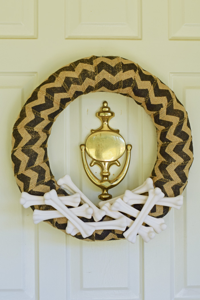 Halloween Bones And Burlap Chevron Diy Wreath