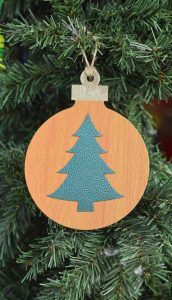 Faux Leather Christmas Tree Ornament made with the Cricut Explore Air 2