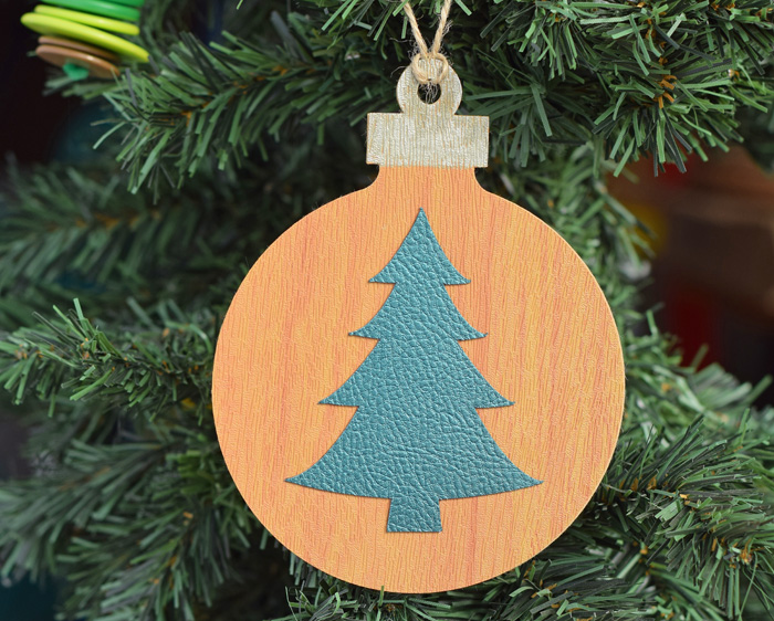 Faux Leather Christmas Ornament craft made with the Cricut Explore Air