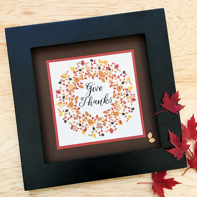 Give Thanks Wall Art for Thanksgiving Made with Cricut