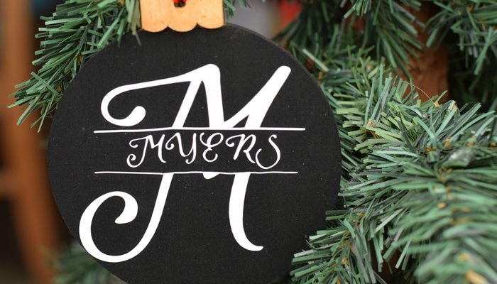 Split Monogram Christmas Ornament