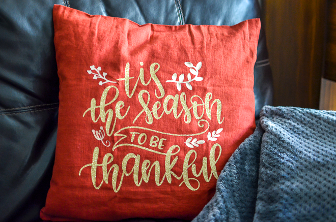 Thankful Pillow for Thanksgiving Made with the Cricut