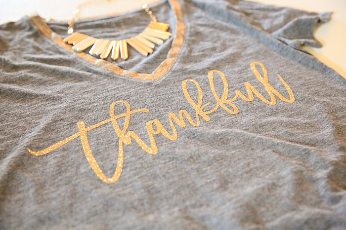 Thankful Thanksgiving Shirt Made with Cricut