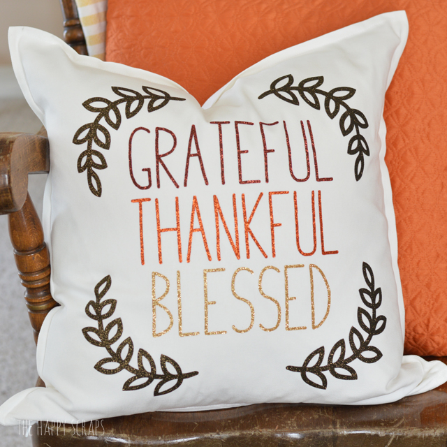 Thanksgiving Pillow made with Cricut