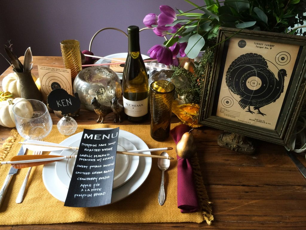 Turkey Shoot Thanksgiving Tablescape with elements made from the Cricut