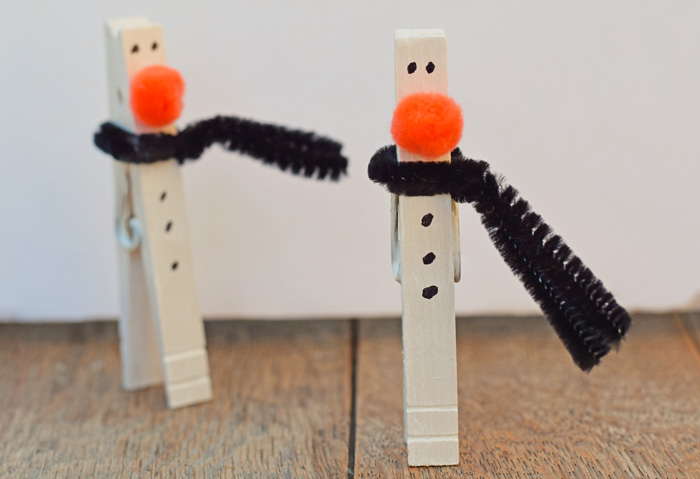 Clothespin Snowmen Craft for Kids AD