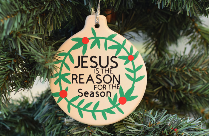 DIY Jesus Is the Reason for the Season Christmas Ornament made with the Cricut