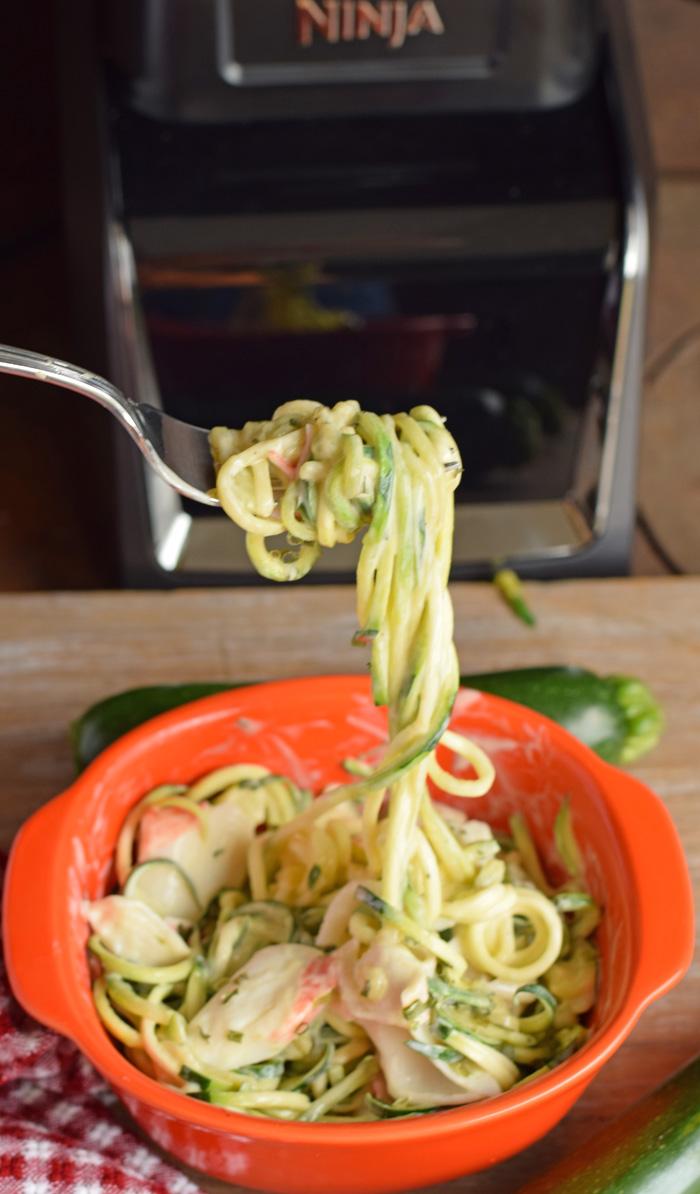 Alfredo Seafood Zucchini Noodles recipes AD
