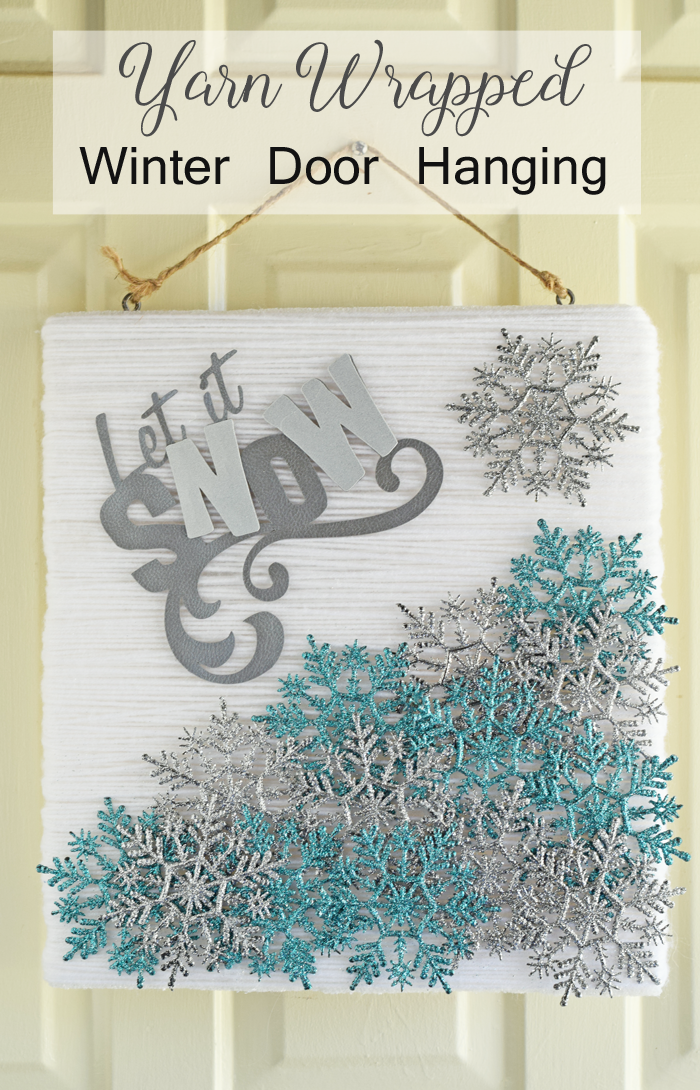 "How to Make a ""Let It Snow"" Winter Mixed Media Door Hanging"