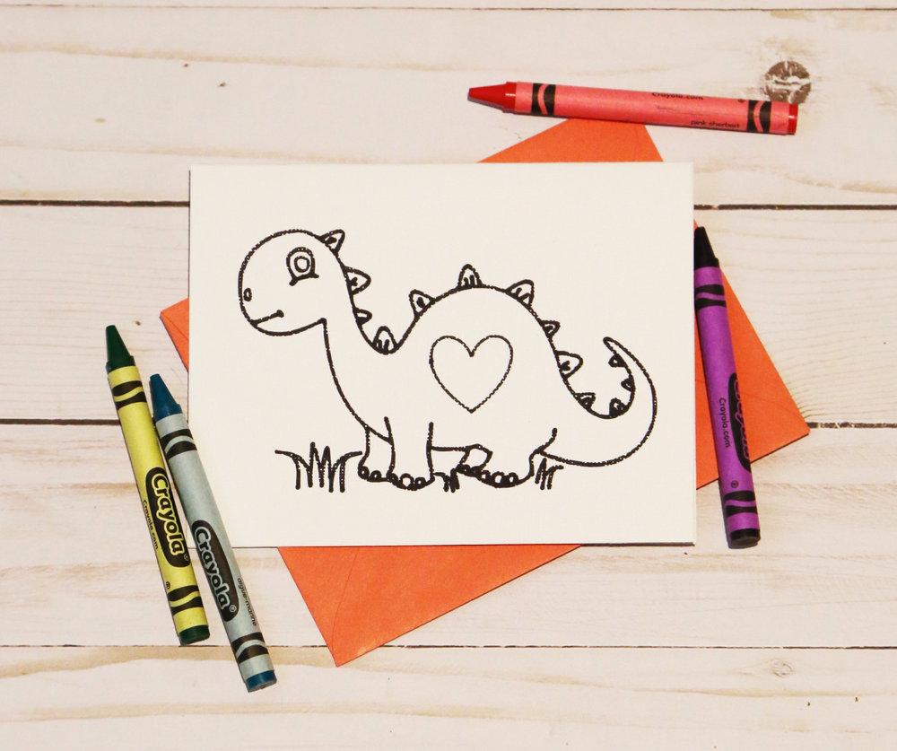 Dinosaur Coloring Valentines
