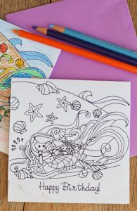 Colorable Mermaid Birthday Card with the Cricut machine