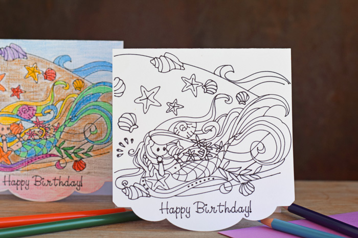 Colorable Mermaid Birthday Card with the Cricut