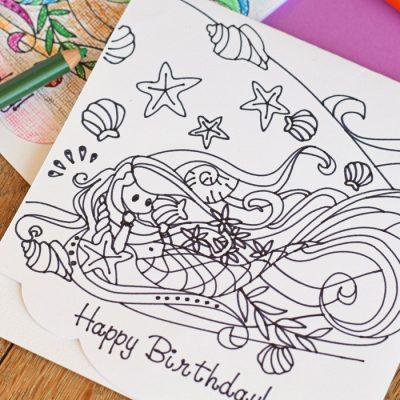 Colorable Mermaid Birthday Card