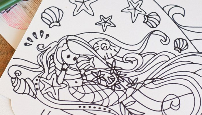 DIY Colorable Mermaid Birthday Card