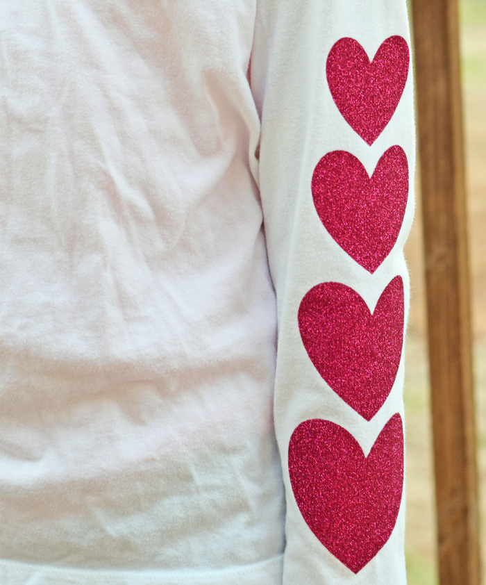 Add a pretty DIY Heart Patch for Sleeves to embellish a shirt or to cover up hard to remove stains