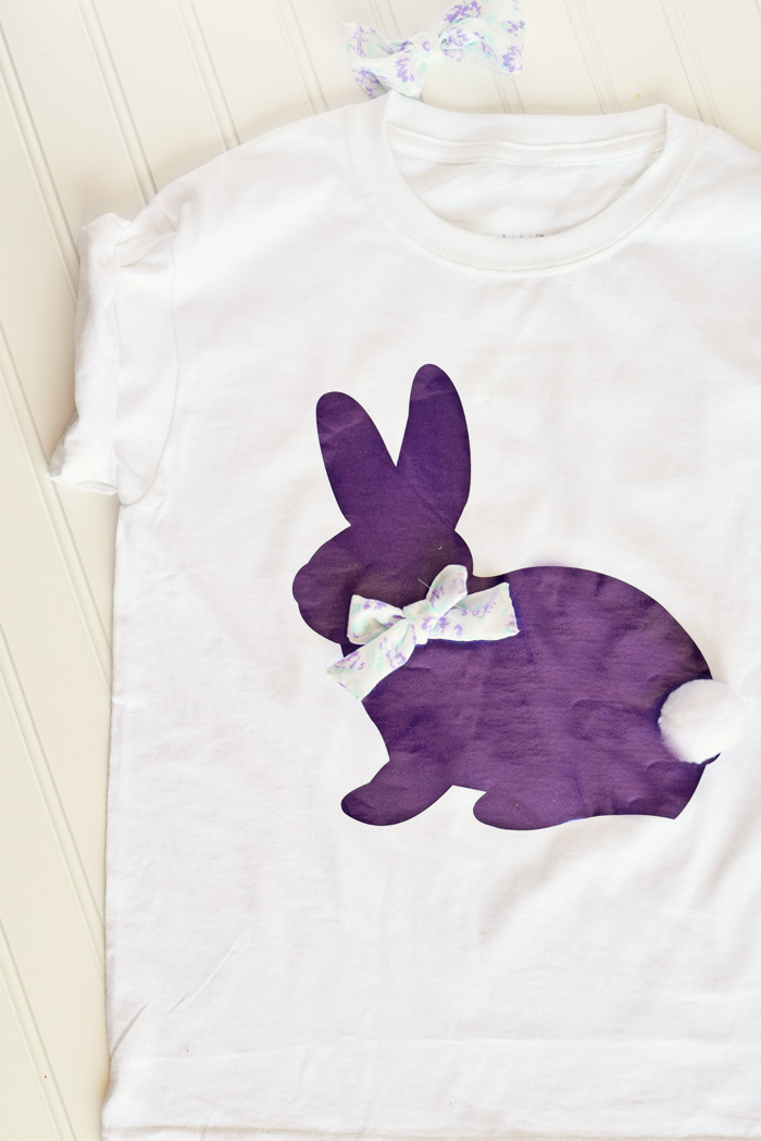 DIY Cute Easter Bunny Shirt made with the Cricut machine AD