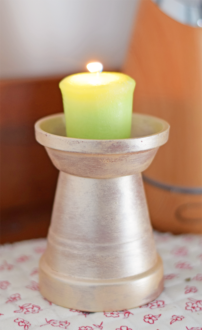 Metallic Terra Cotta Candle Holder Craft