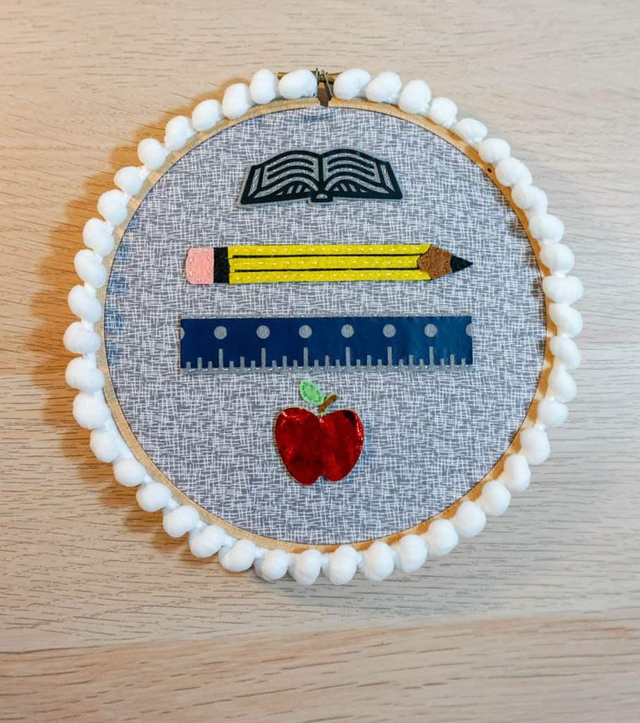 Teacher Gift Hoop Art made with the Cricut