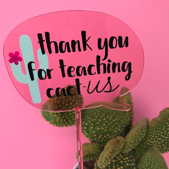 Cactus Teacher Gift made with the Cricut