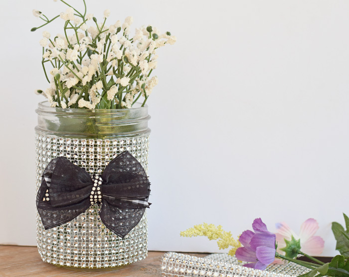 Faux Diamond Wrapped Mason Jar AD