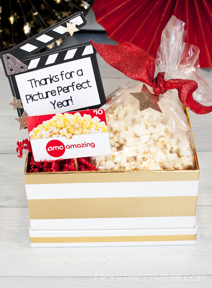 Movie Basket Gift Idea for Teacher Appreciation made with the Cricut