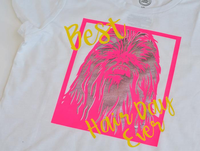 DIY Chewbacca Star Wars Iron-on Shirt made with the Cricut machine