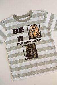 Vader and Chewbacca Star Wars Iron-on Shirt made with a Cricut machine