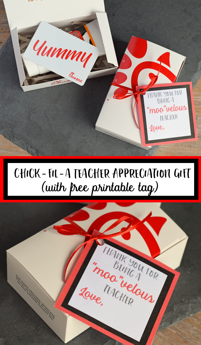 Chick-fil-a Teacher Appreciation Free Gift Tag Printable