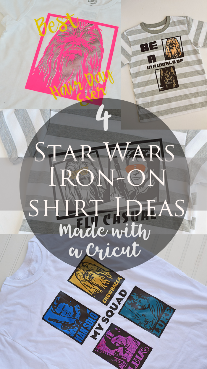 4 Star Wars Inspired Iron-on Shirt Designs made with a Cricut machine