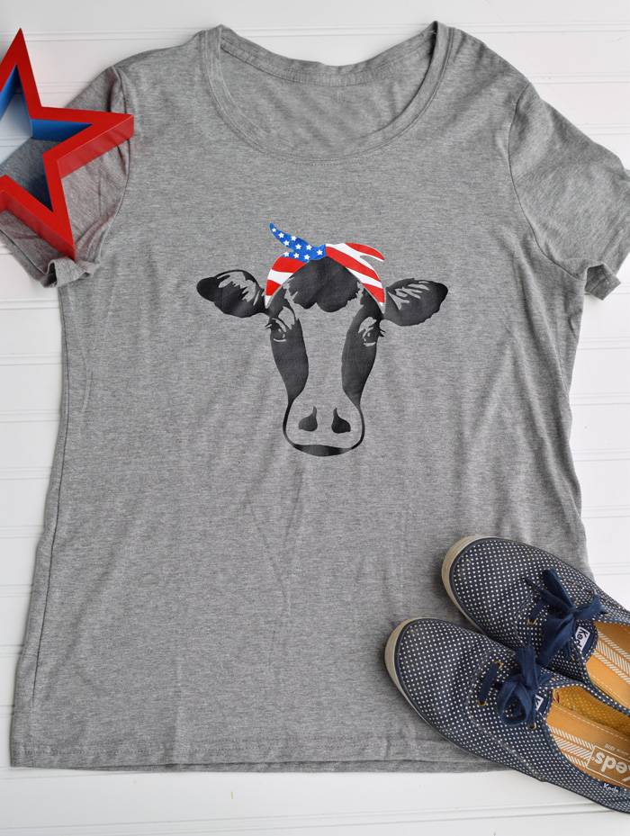 Cow Americana Shirt with Iron-on Vinyl