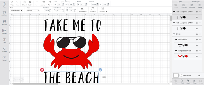 Take Me to The Beach Crab Shirt with Iron-on Vinyl and the Cricut machine