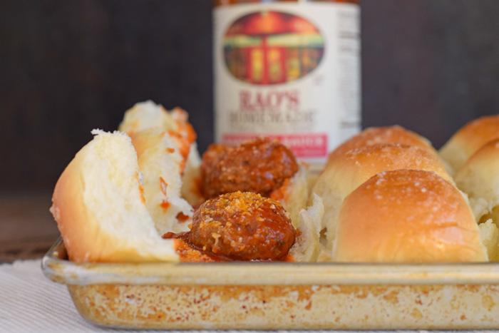 Garlic and Parmesan Meatball Sliders recipe AD