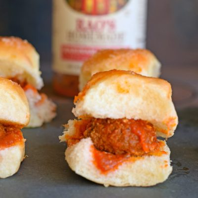 Garlic and Parmesan Meatball Sliders recipe AD
