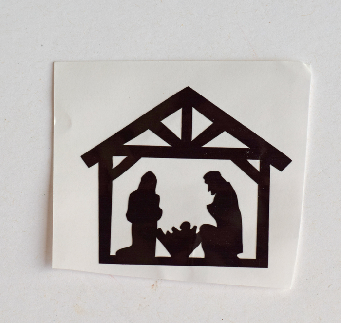 Nativity Stable Christmas Ornament made with the Cricut machine