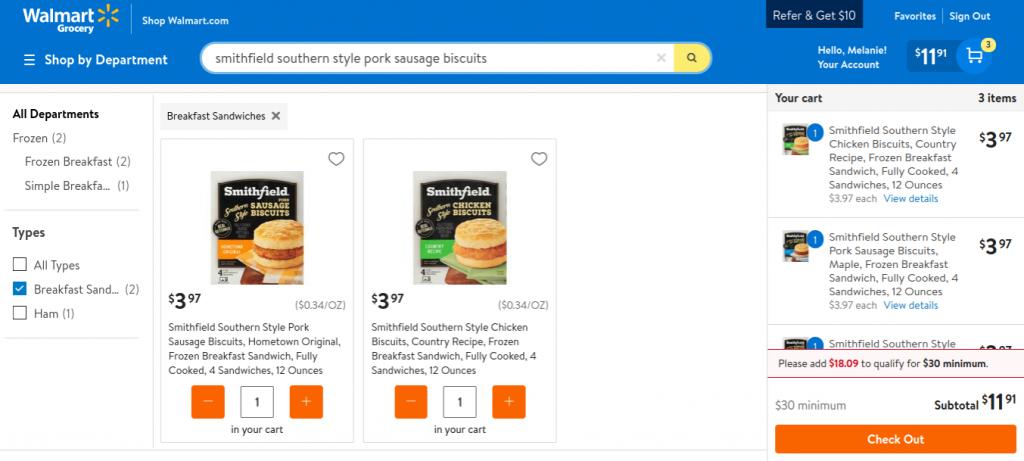 Smithfield Biscuits Walmart AD