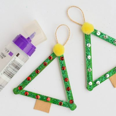 Glitter Popsicle Stick Christmas Tree Craft AD
