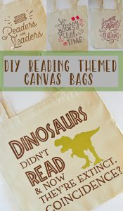 DIY Reading Themed Canvas Tote Bags made with the Cricut