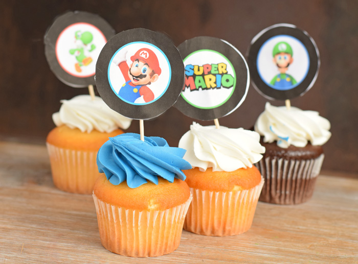 Super Mario Birthday Lunch with Super Mario Cupcake Toppers