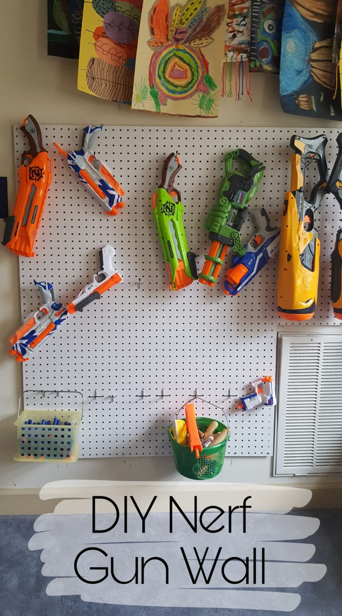 DIY Nerf Gun Pegboard Wall for Nerf Gun Organization