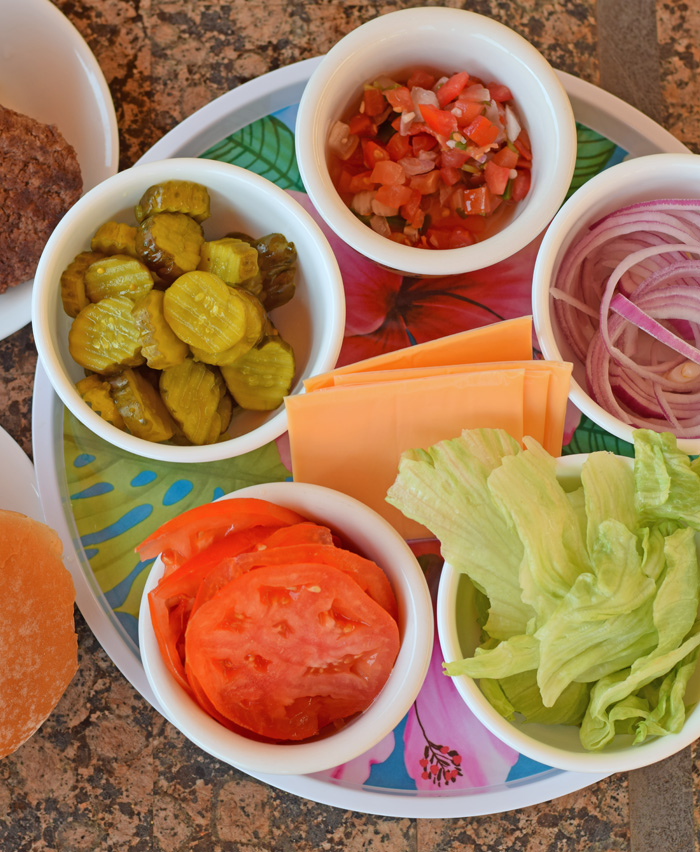Quick and Easy Burger Bar for Outdoor Summer Cookouts AD