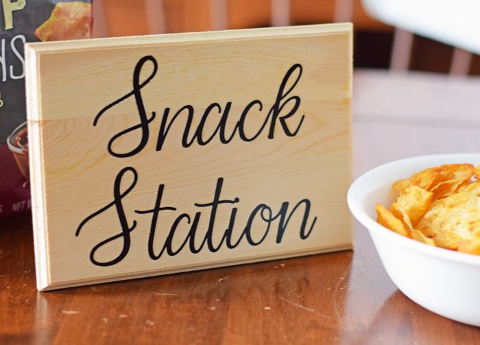 DIY Snack Station Sign made with the Cricut machine AD