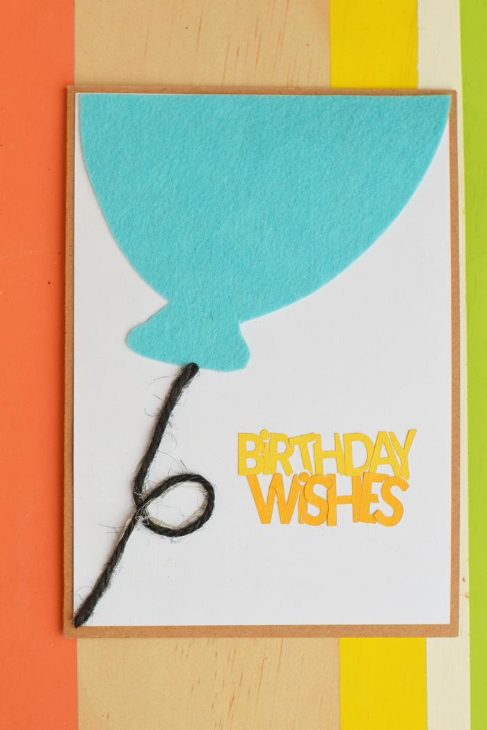 Felt Balloon Birthday Card made with the Cricut
