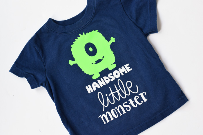 Handsome Little Monster Shirt made with Cricut