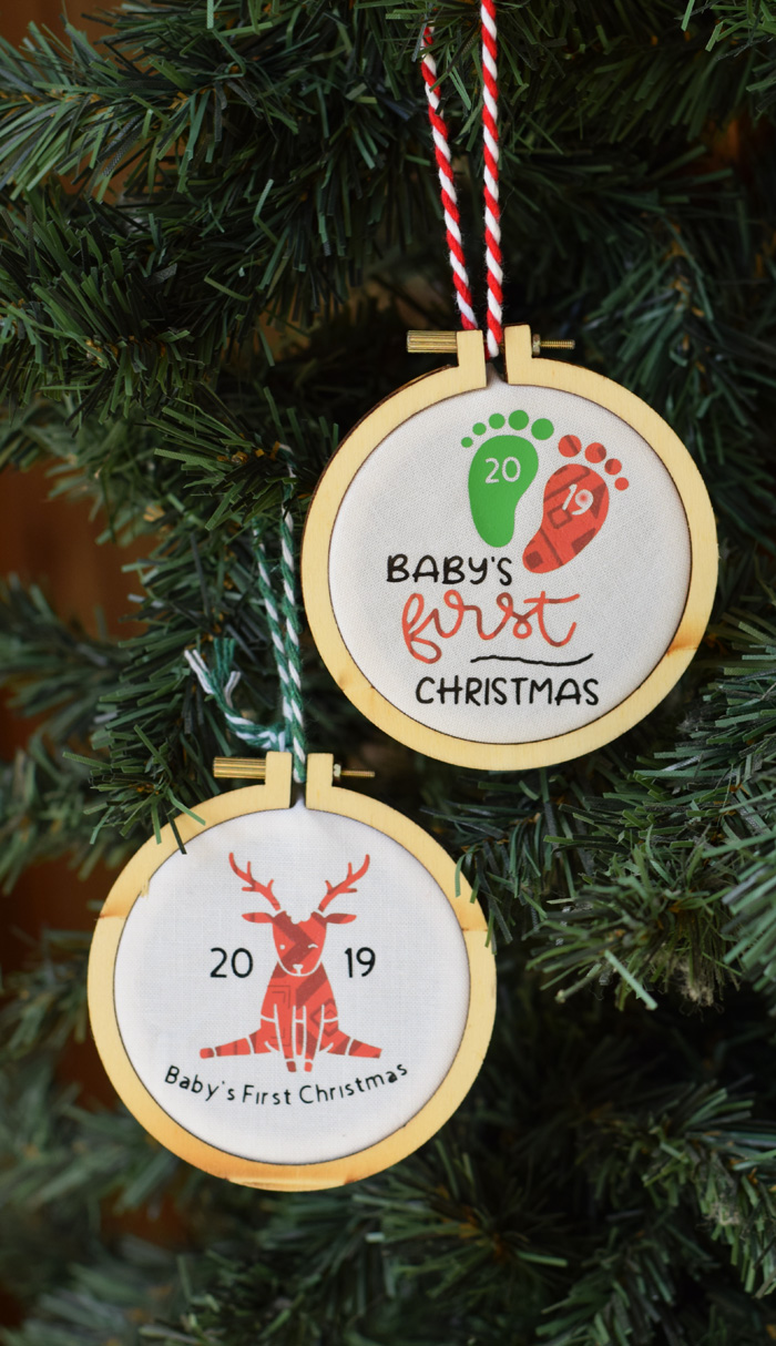 Personalized Baby's First Christmas Ornament with Cricut Explore Air 2 AD